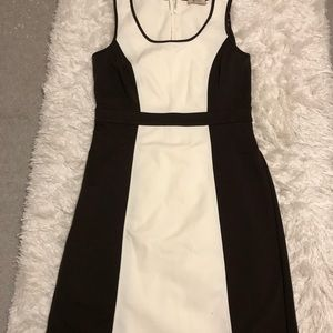 Brown and white business casual dress